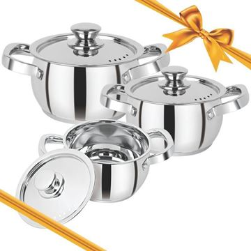 Picture of RATNA Impact Bonded 3 Pcs Casserole Gift Set, Induction - Food Grade Stainless Steel -Works Perfectly on Gas, Induction Stove and Dishwasher Compatible.