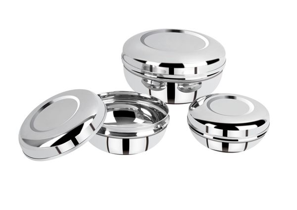 Picture of RATNA Stainless Steel Exclusive Deluxe Puri Dabbi/storage Container, 4 Piece, Silver